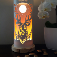Stag Head Engraved Table Lamp