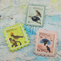 Vintage Postage Stamp Pin - Set of 3