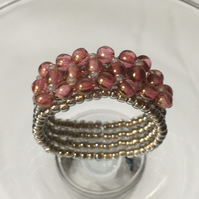 Rose & Gold Luster Bead Ring
