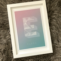 Personalised Initial Name Print Pastel Colours with Line Drawing Patterns
