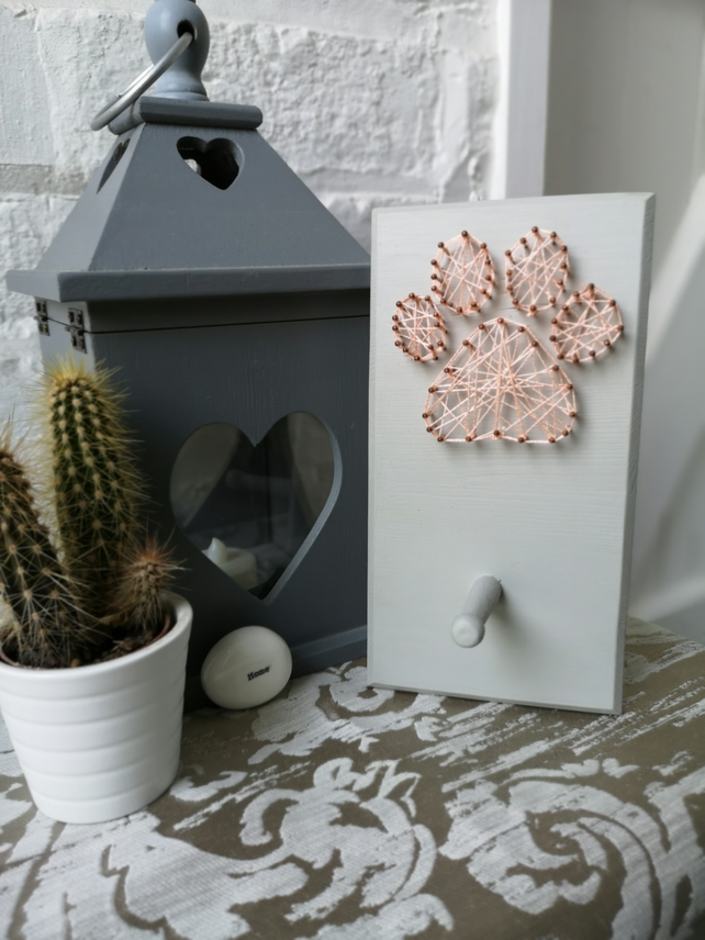 Paw Print String Art picture with wooden peg hook