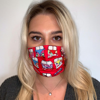 Red Campervan, 3 Layer, Reusable, Cotton Face Mask