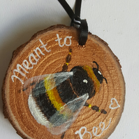 Meant to Bee - Wedding Gifts- Hand Painted Original Wooden Slice Keepsake