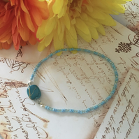 Clear sky blue beaded bracelet