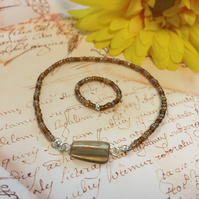 Beaded brown bracelet and ring