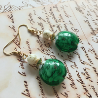 Green Venetian Glass gold plated earrings