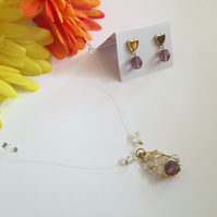 illusion necklace with matching stud earrings