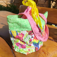 Parrot and Pink cotton draw string bag