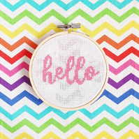 Hello Cross Stitch Hoop Kit