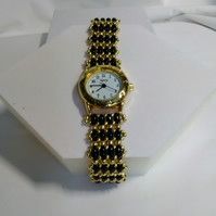 Black & Gold Watch Bracelet