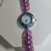 Lilac & Pink Gold Watch Bracelet