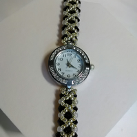 Silver & Black Watch Bracelet