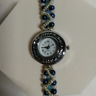 Petrol blue & silver Watch Bracelet
