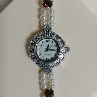 Gorgeous Pearl & Crystal  Watch Bracelet