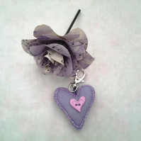 Lilac beaded Heart Felt Key-ring