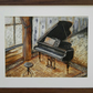 Grand piano original coffee watercolours painting
