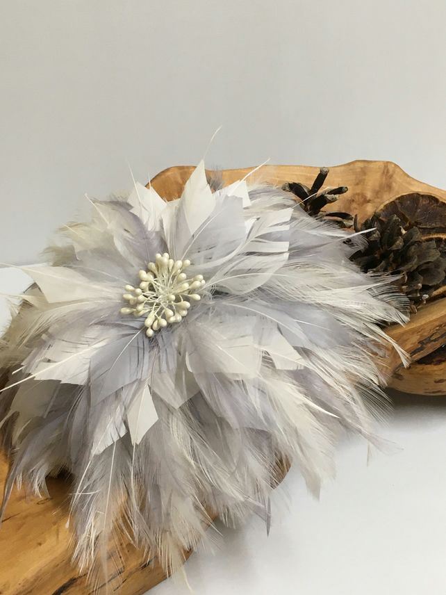 Silver and ivory feather fascinator