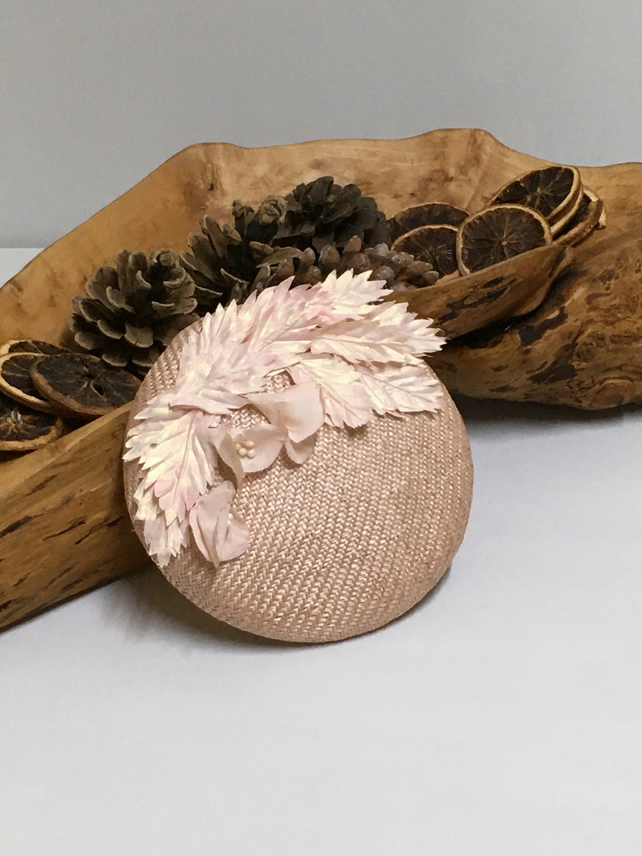 Pale pink, blush button percher hat with handmade silk flowers and leaves.