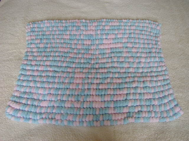 Hand Knitted PomPom Blanket Colour Blue And Pink