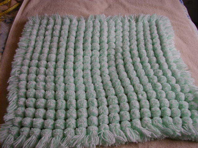 Hand Knitted PomPom Blanket Colour Mint And White