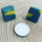 Handmade Quirky Green and Yellow Square Stud Earrings