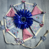 Lavender filled Embellished Bunting - Cherry Stripe Pinks