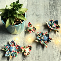 Flower Fairy Lights - Traditional Floral Blue and Cream