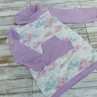 Hoodie Baby Dress dusty pink, size 80 - 12-18 months, with cuffs, baby clothes