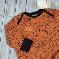 Orange Galaxy Baby Jumper, size 86, 18-24mths, contrasting cuffs, baby clothes,