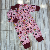 Pink Forest Animal Baby Sleeper, Size 68 3-6 month, long sleeve, cotton jersey