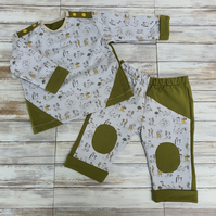Baby Set trousers and jumper with fasteners, mottled cotton jersey, sweatshirt