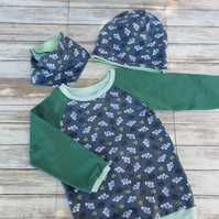 Baby T-Shirt with bandana and beanie, size 86 - 18-24 months, cotton jersey