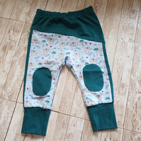 Elephant Baby leggings, size 68 3-6mths, cotton jersey, baby boy, patches