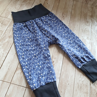 Blue Baby cuff leggings with little stars, size 74 - 6-9mths, trousers