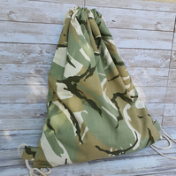 Camouflage Drawstring Bag, PE Kit, Backpack, cotton canvas, storage drawstring