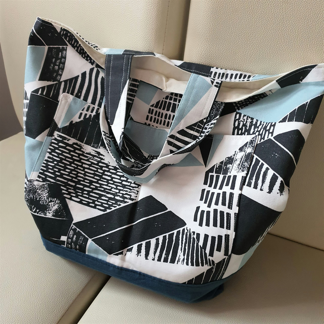 Abstract Project Bag, small carry shopping bag, tote, market bag, 2 pockets