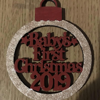 Hanging Baby's First Christmas MDF Bauble
