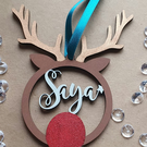Personalised Reindeer with Antlers Christmas Bauble