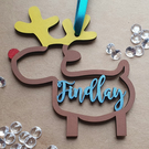 Personalised Reindeer MDF wooden Bauble