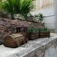 Beautiful Outdoor Wooden Train Planter and Trailers