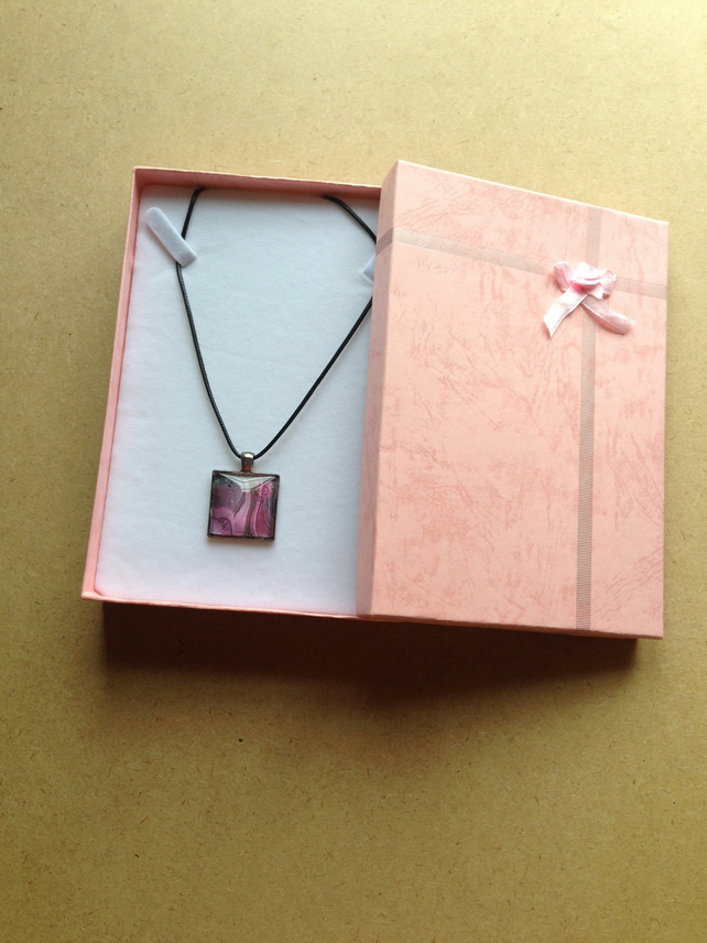 Pink  and grey square  pendant necklace
