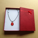 Red teardrop resin pendant necklace