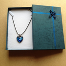 Green and blue heart shaped resin pendant necklace
