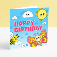 Happy Birthday Card - Children's Colourful Butterfly Card