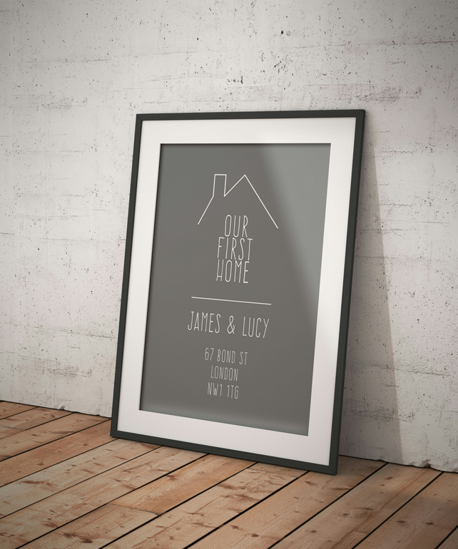 PERSONALISED FIRST HOME Print - Housewarming Gift - Framed Gift - Home Print - F