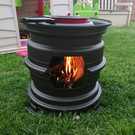 Hand Made Chiminea, Fire Pit, Log Burner, Barbecue from recycled steel wheels