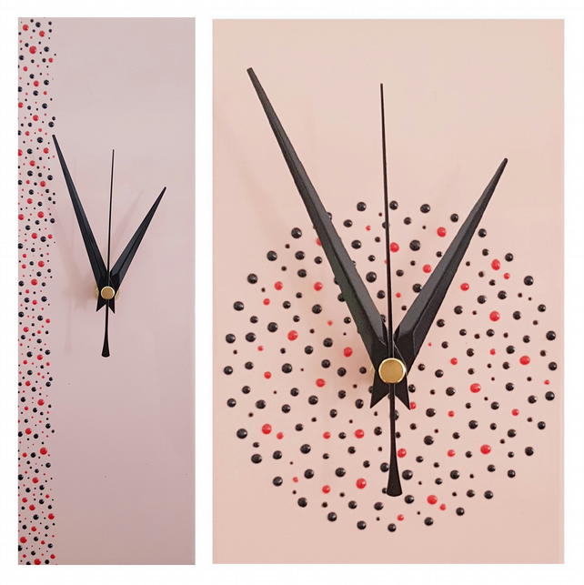 Handpainted Pink Wall Clock 30cm x 10cm