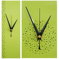 Handpainted Lime Green Wall Clock 30cm x 10cm