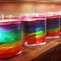 Rainbow candle - hand painted & hand poured in Cornwall