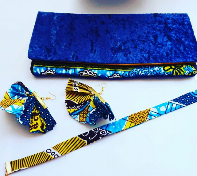Blue Velvet With Ankara Blue and Yellow Gold Fabric  Clutch Bag